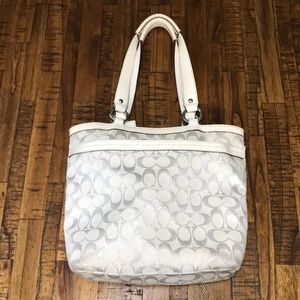 White and Silver Coach Tote